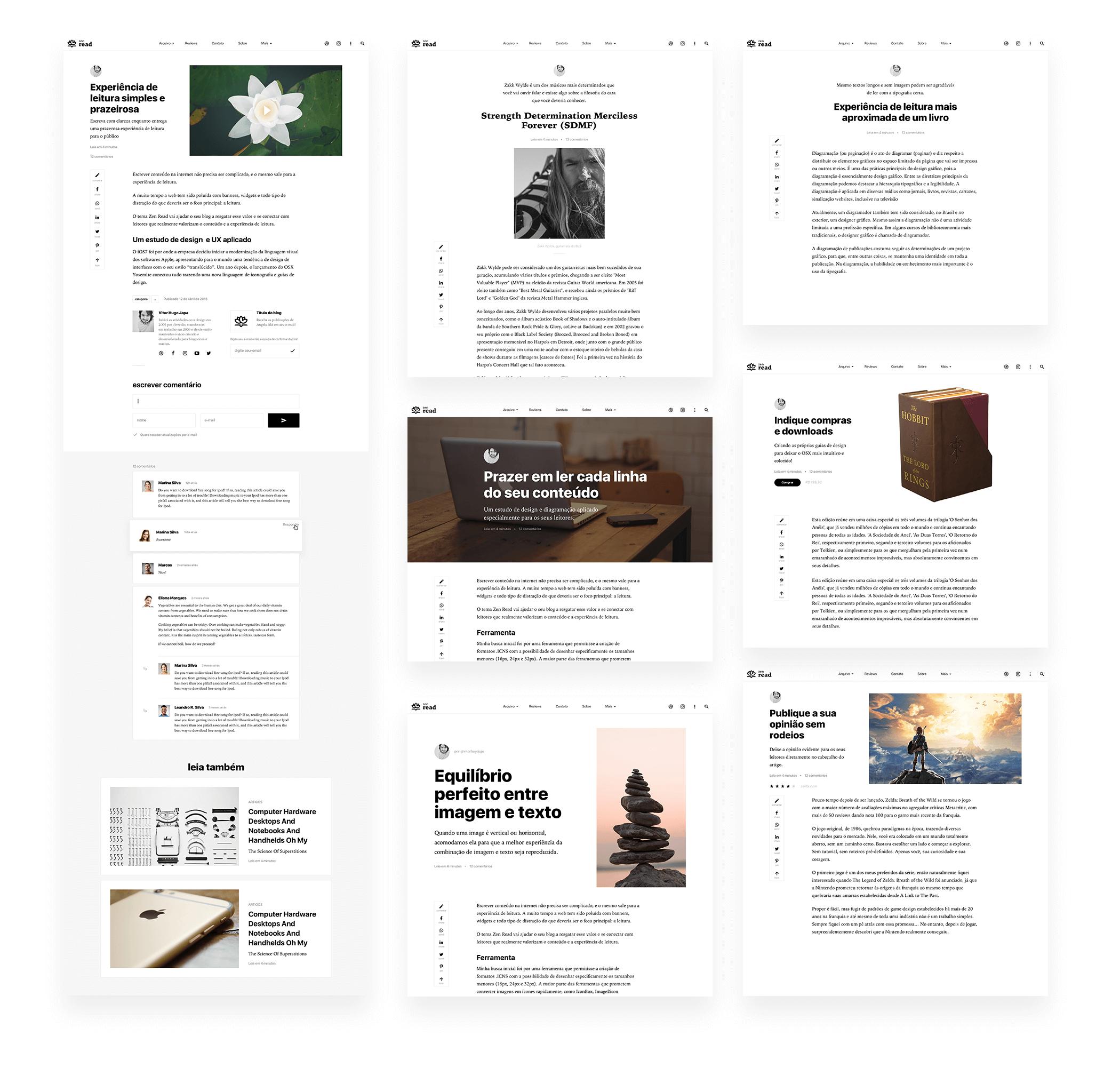 Visão geral do tema Zen Read desktop