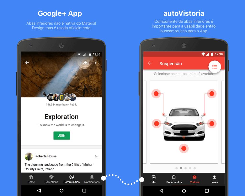 Comparação do componente de abas na parte inferior do app
