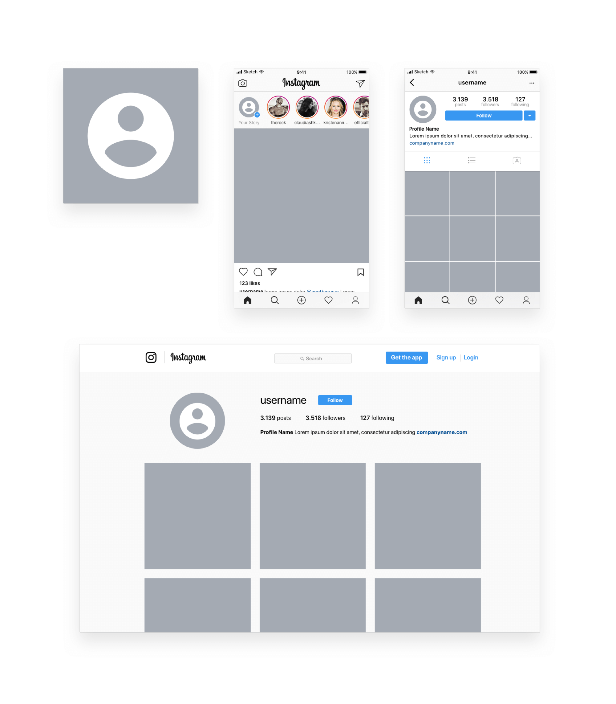 Instagram Sketch Mockup