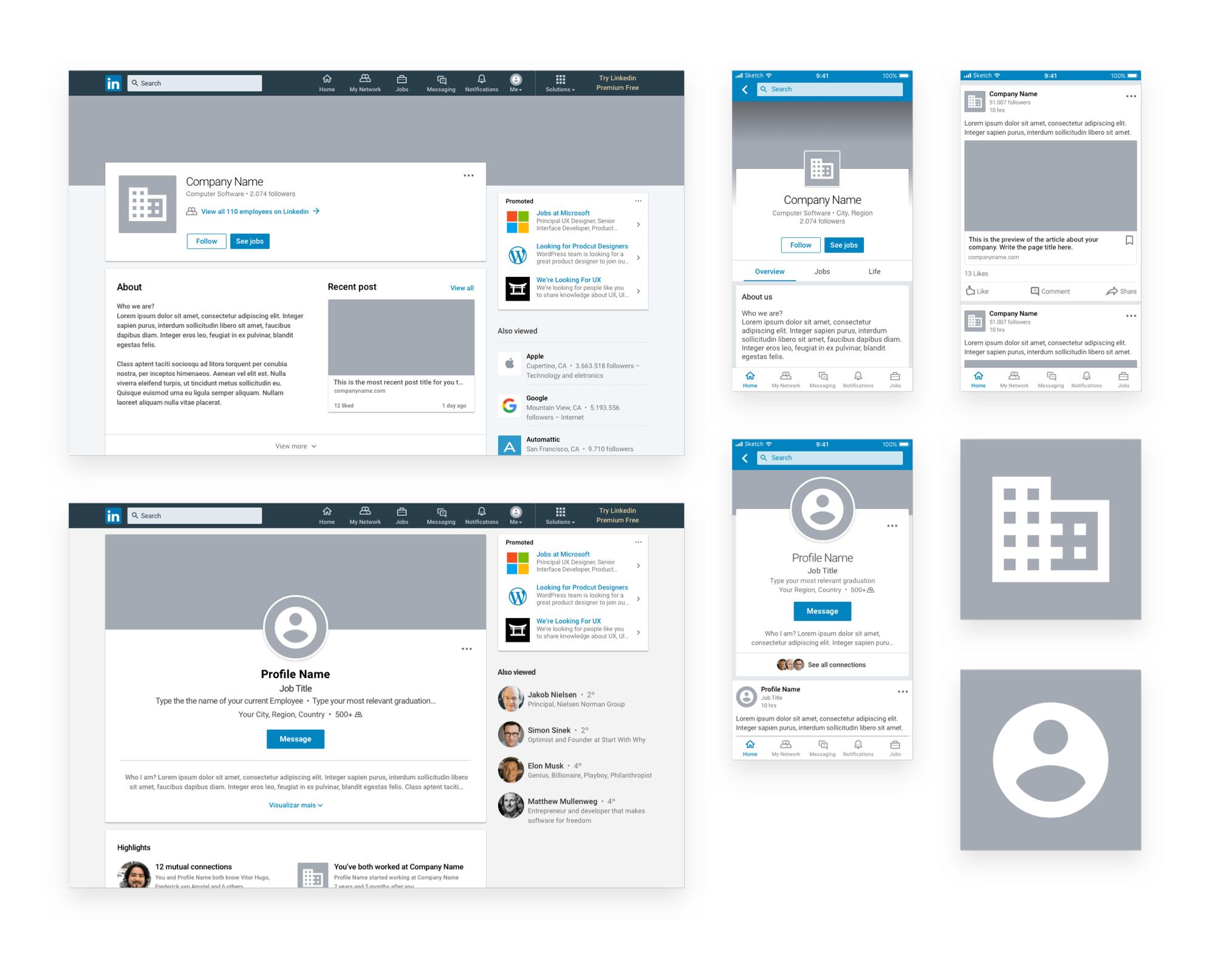 Linkedin Sketch Mockup