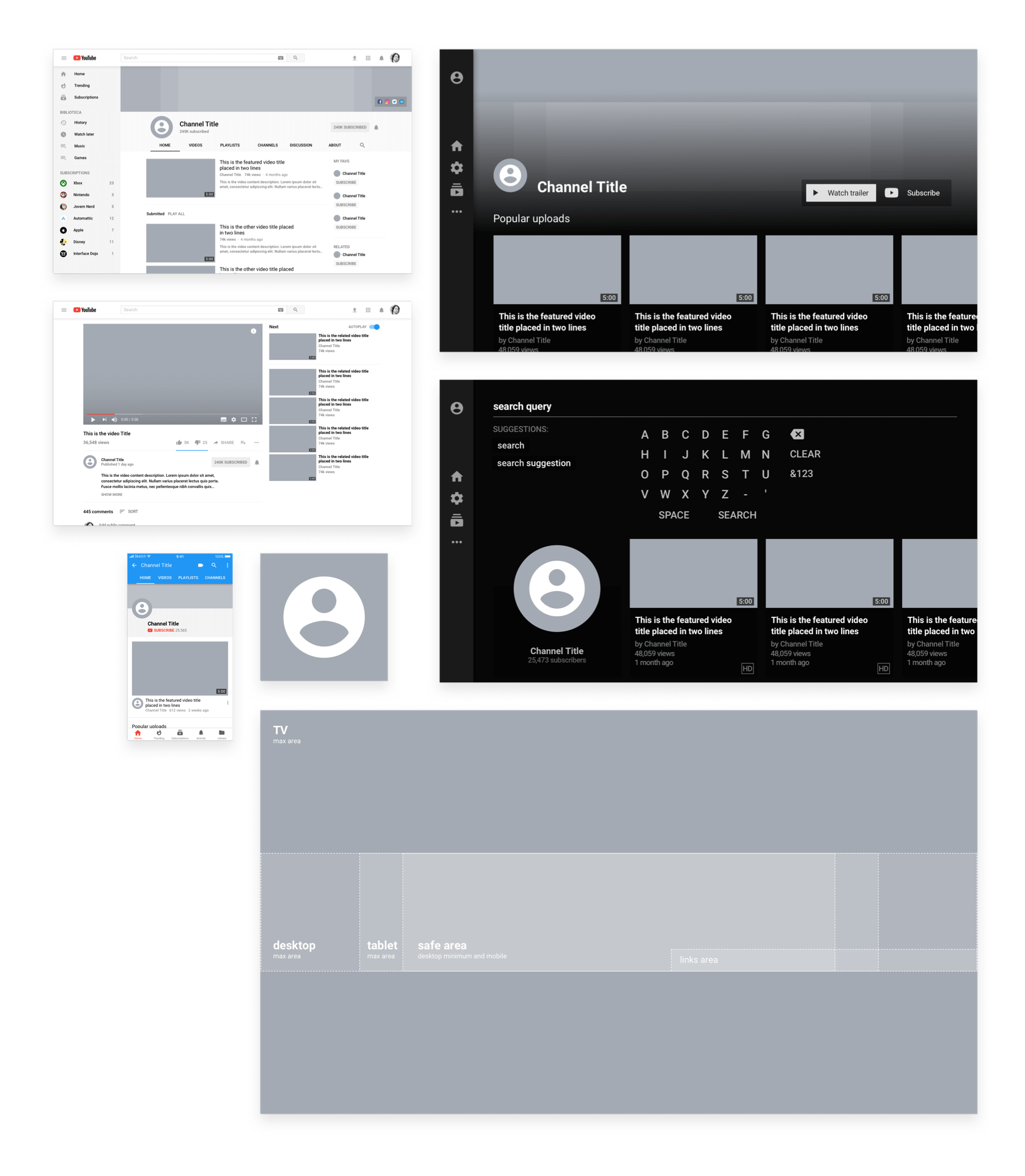 YouTube Sketch Mockup
